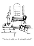 """Today's service will be using the hashtag 'Jerrysdead.' "" - New Yorker Cartoon Giclee Print by Corey Pandolph"