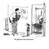 """""""He offered me early retirement."""" - New Yorker Cartoon Giclee Print by Robert Weber"""