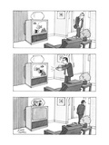 Man switches channel on television to make swimming fish go from the set i… - New Yorker Cartoon Premium Giclee Print by Joseph Farris