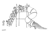 A group of children are lined up to go on a playground slide, but at the t… - New Yorker Cartoon Premium Giclee Print by Jason Patterson