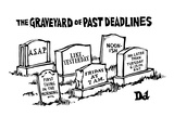 The Graveyard of Past Deadlines - New Yorker Cartoon Premium Giclee Print by Drew Dernavich