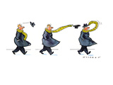 Sequence of three drawings in which a man's hat is blown off by the wind a… - New Yorker Cartoon Premium Giclee Print by Bill Woodman