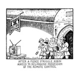 """After A Fierce Struggle, Robin Agreed To Relinquish Possession Of The Rem…"" - New Yorker Cartoon Premium Giclee Print by Glen Baxter"