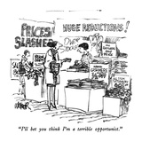 """I'll bet you think I'm a terrible opportunist."" - New Yorker Cartoon Premium Giclee Print by Robert Weber"
