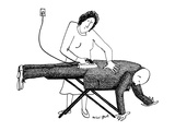 A woman is ironing her husband's suit on an ironing board; he's still wear… - New Yorker Cartoon Premium Giclee Print by Mimi Gnolì