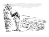 Robinson Crusoe comes upon beach littered with washed-up garbage. - New Yorker Cartoon Premium Giclee Print by Ed Fisher