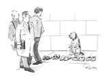 Dog sits selling slippers on the sidewalk, as if he were a peddler. - New Yorker Cartoon Premium Giclee Print by Mike Twohy