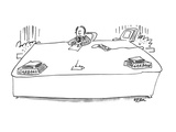 Man sitting at desk has separate 'in/out' containers, both marked 'Garbage… - New Yorker Cartoon Premium Giclee Print by Dean Vietor