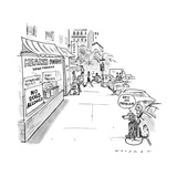 "Dog tied to parking meter outside store with sign ""No Dogs Allowed"", the d…"" - New Yorker Cartoon Premium Giclee Print by Bill Woodman"