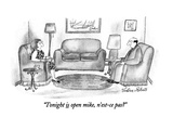 """Tonight is open mike, n'est-ce pas"" - New Yorker Cartoon Premium Giclee Print by Victoria Roberts"
