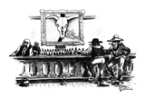 O'Keefe painting of rose and cattle skull is hanging over the bar of an ol… - New Yorker Cartoon Premium Giclee Print by Eldon Dedini