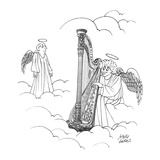 Harpo Marx, as an angel, plays a harp in heaven as another angel looks on. - New Yorker Cartoon Premium Giclee Print by Joseph Farris