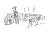 Sidewalk artists sit in chairs next to their works.  One sits in a lifegua… - New Yorker Cartoon Premium Giclee Print by Bill Woodman