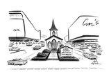 "A small church is located between two huge shopping centers, there is a si…"" - New Yorker Cartoon Premium Giclee Print by Ed Fisher"