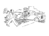 Man walks by car with sign in window 'No Cigars'. - New Yorker Cartoon Premium Giclee Print by Stuart Leeds