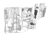 Woman putting together puzzle from painting in gallery. - New Yorker Cartoon Premium Giclee Print by Rip Matteson
