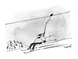 Man being propelled down a ski-slope on a ski-lift. - New Yorker Cartoon Premium Giclee Print by Peter Porges