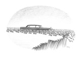Herd of lemmings are running off cliff, one is being chauffeured in a limo… - New Yorker Cartoon Premium Giclee Print by Anthony Taber