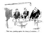 """And now, speaking against the theory of evolution..."" - New Yorker Cartoon Premium Giclee Print by Mischa Richter"