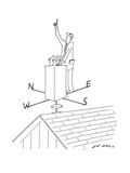 Politician stands at podium which is on top of a weathervane with one fing… - New Yorker Cartoon Premium Giclee Print by Ed Arno