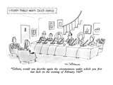 """Colleen, would you describe again the circumstances under which you first…"" - New Yorker Cartoon Premium Giclee Print by Eric Teitelbaum"