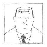 Man has a fuel gauge on his head pointing towards empty. - New Yorker Cartoon Regular Giclee Print by Richard McCallister