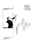 A businessman on a balcony takes aim at Cupid with a bow and arrow. - New Yorker Cartoon Premium Giclee Print by Edward Frascino