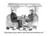 """Cheese fondue has gone wherever crêpes Suzette and tuna Mornay went."" - New Yorker Cartoon Premium Giclee Print by Victoria Roberts"