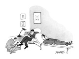 Therepist getting his shoes shined while talking to patient. - New Yorker Cartoon Premium Giclee Print by Peter Porges