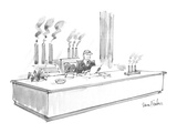 A business man sits at a :desk,. smokestacks visible out the rear window, … - New Yorker Cartoon Premium Giclee Print by Dana Fradon