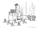 Street vendor is selling little windup men who march back and forth in fro… - New Yorker Cartoon Premium Giclee Print by Bill Woodman