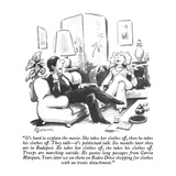 """It's hard to explain the movie.  She takes her clothes off, then he takes…"" - New Yorker Cartoon Premium Giclee Print by Eldon Dedini"