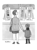 A mother and her daughter stand looking at three Barbie-like dolls:  Under… - New Yorker Cartoon Premium Giclee Print by J.B. Handelsman