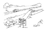 "Sign by the side of the road ""Right lane becomes left lane-100 ft."". - New Yorker Cartoon Premium Giclee Print by Sidney Harris"
