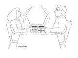 "Woman and man each with a mug, the woman's says ""In touch with my feelings… - New Yorker Cartoon Regular Giclee Print by Stuart Leeds"