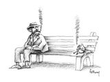 Hobo on park bench sees bird smoking the same kind of cigar he is. - New Yorker Cartoon Premium Giclee Print by Anthony Taber