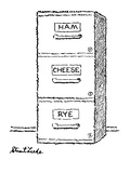 "Three filing cabinet drawers, one marked ""Ham"" the other ""Cheese"" and the … - New Yorker Cartoon Premium Giclee Print by Stuart Leeds"
