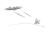 Hunter running from eagle with bombs under it's wings. - New Yorker Cartoon Premium Giclee Print by Anthony Taber