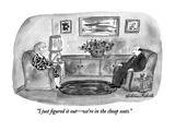"""""""I just figured it out—we're in the cheap seats."""" - New Yorker Cartoon Giclee Print by Victoria Roberts"""
