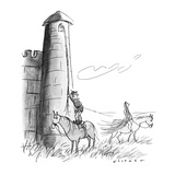 Man from Middle Ages pauses to watch Lady Godiva ride by as he is about to… - New Yorker Cartoon Premium Giclee Print by Bill Woodman