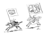 Man with woman is running away from knight, each has a floor plan of a cit… - New Yorker Cartoon Premium Giclee Print by Ed Fisher