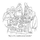 """Dig in.  It's a medallion-of-veal look-alike."" - New Yorker Cartoon Premium Giclee Print by George Price"