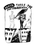 Death Takes The Postmodernist - New Yorker Cartoon Premium Giclee Print by Stephanie Skalisky