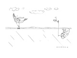 Man skating on pond sees man fishing from underneath the ice. - New Yorker Cartoon Premium Giclee Print by Bill Woodman
