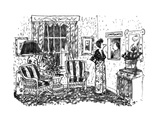 "Woman nagging her husband, who is sitting in a department store-like ""comp… - New Yorker Cartoon Premium Giclee Print by Robert Weber"