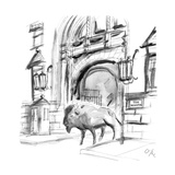"Large buffalo walks out of ""The Dakota"". - New Yorker Cartoon Regular Giclee Print by Everett Opie"