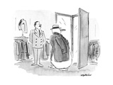 Snow man tries on winter coat and hat. - New Yorker Cartoon Premium Giclee Print by James Stevenson