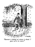 """Summer is behind us; winter is ahead.  I guess we're on course."" - New Yorker Cartoon Premium Giclee Print by Henry Martin"