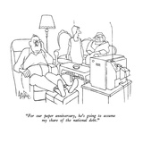 """For our paper anniversary, he's going to assume my share of the national …"" - New Yorker Cartoon Premium Giclee Print by George Price"