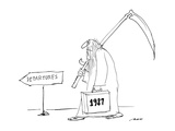 "Father time with briefcase saying ""1987"" follows ""departures"" sign. - New Yorker Cartoon Premium Giclee-trykk av Al Ross"